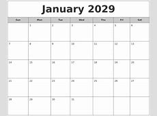 January 2029 Free Monthly Calendar
