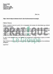 Plan De Départ Volontaire : lettre de d part volontaire dans le cadre d 39 un licenciement conomique ~ Medecine-chirurgie-esthetiques.com Avis de Voitures