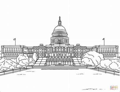 Coloring Building Capitol States United Sketch Pages