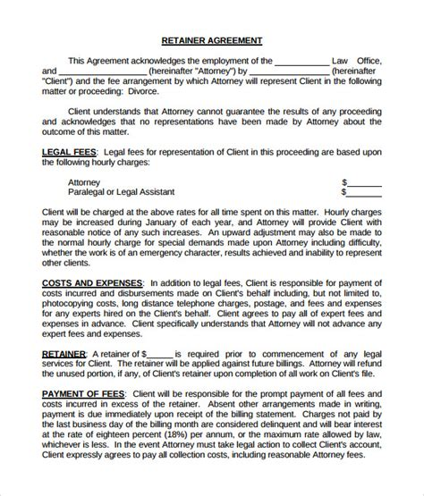 retainer agreement samples sample templates