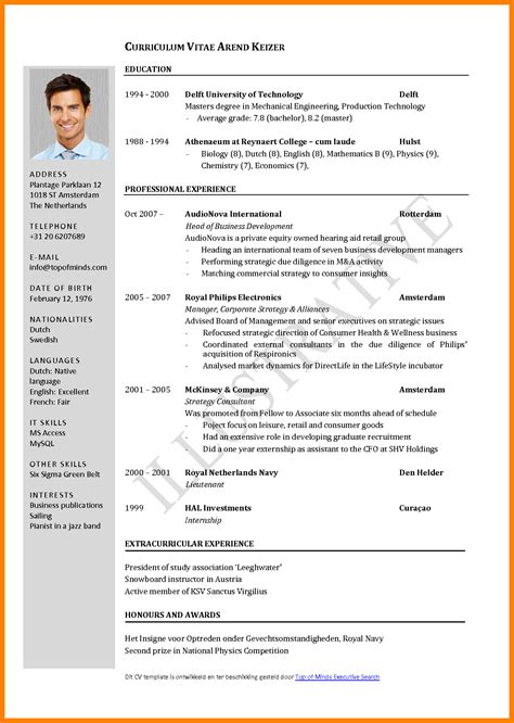 Curriculum Vitae Format For Application by 6 Cv Sles For Application Theorynpractice