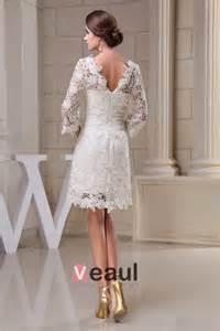 brautkleid spitze ã rmel charmante a linie 3 4 ärmel durchbohrte spitze kurzen hochzeitskleid brautkleid 1505135041