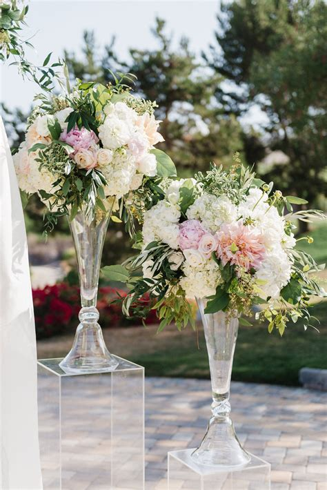 tall blush centerpiece ceremony flowers clear acrylic