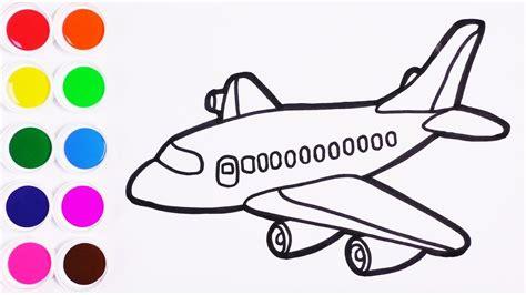 como dibujar  colorear  avion de arco iris learn colors dibujos  ninos funkeep