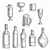 Liquor Alcohol Bottles Whiskey Clipart Beer Bottle Sketch Wine Vodka Glasses Drawing Line Supporting Sterke Cocktail Filled Beverages Mixed Icons sketch template