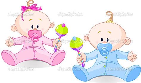 Twin Baby Boy And Girl Playing With