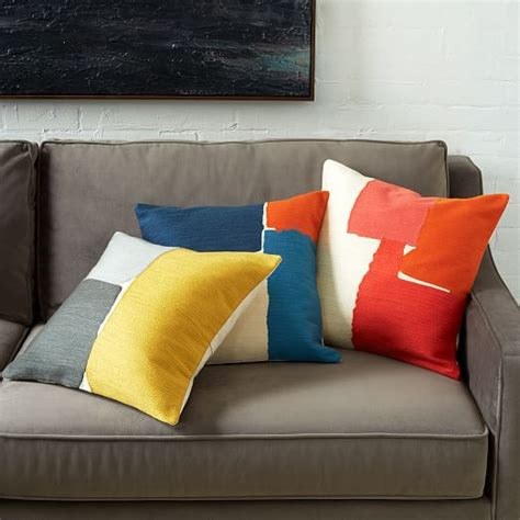 west elm pillows steven alan abstract crewel pillow cover coral