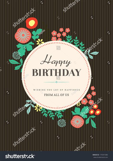 happy birthday card design template  floral pattern