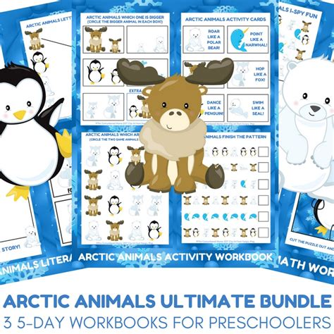 arctic animal activities for autistic 857 | Arctic Animals Ultimate Bundle Three Preschool Printable Workbooks for Arctic Animal Unit Studies