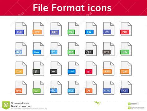 File Format Icon Big Set Stock Vector Illustration Of