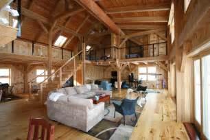 pole barn home interior mortise tenon joined barn timber frame