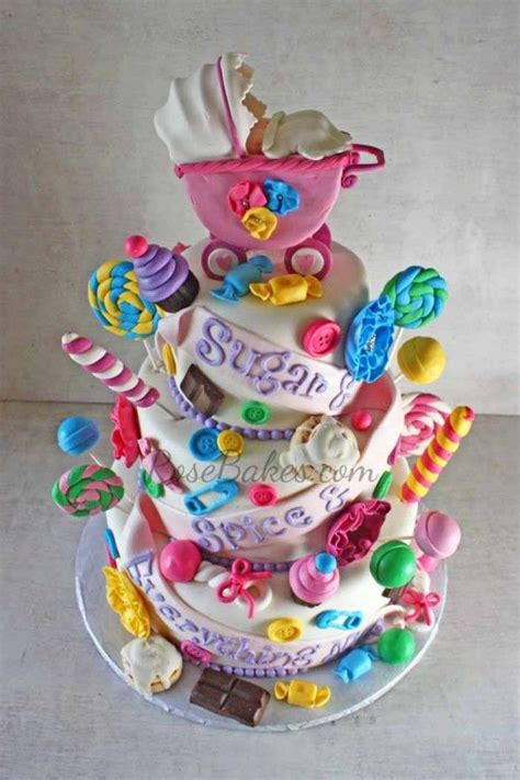Baby Shower Cakes Girls sugar and spice and everything nice baby shower cake for