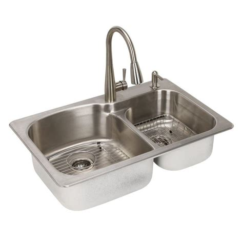 Decor Ideas For Kitchens - glacier bay all in one dual mount stainless steel 33 in 2 hole double basin kitchen sink