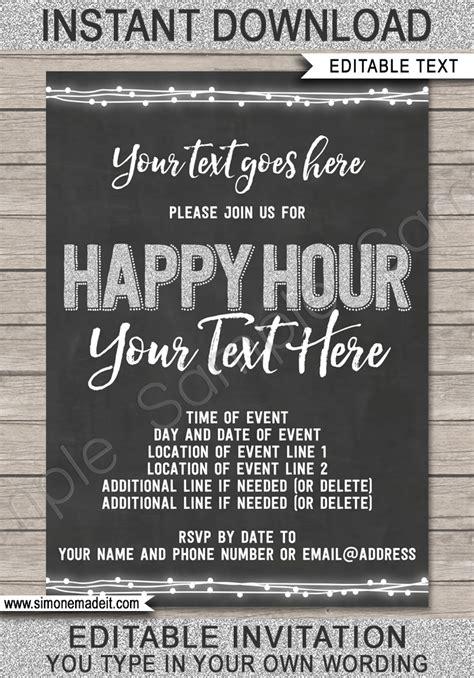 happy hour invitation template printable happy hour invite