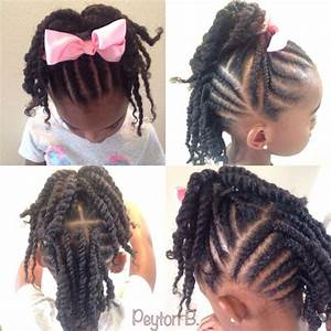 Top: Cornrows with ends twisted up into ponytail. Back ...