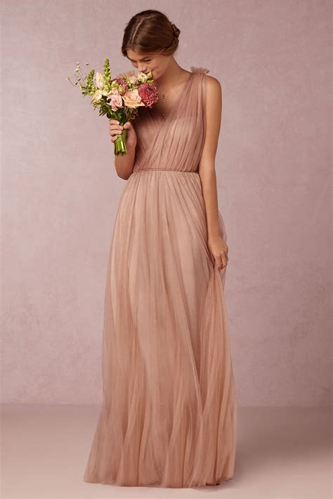 Long Pink Tulle Bridesmaid Dress Emmy Dress In Feather