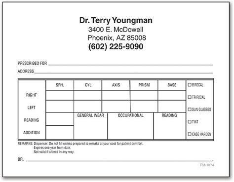 eye prescription form rx prescription pads smartpractice eye care