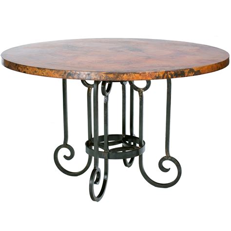 Ideal Dining Room Idea Including Copper Top Round Dining