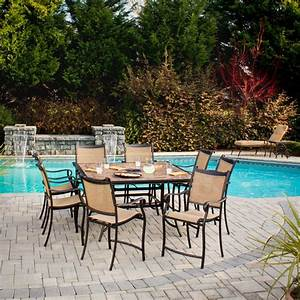 hampton bay westbury 9 piece patio high dining set s9 With home depot high top patio furniture