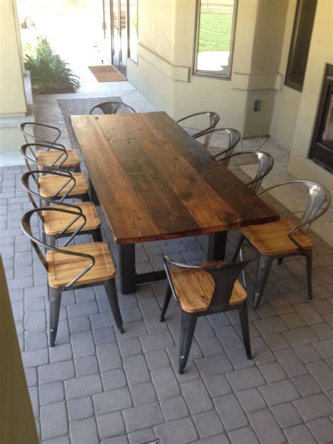 Patio Table by Reclaimed Wood And Steel Outdoor Dining Table 1 The