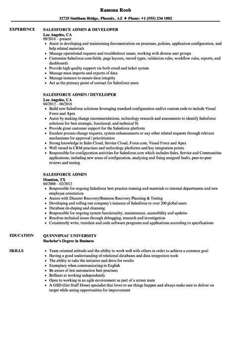 salesforce administrator resume sle resume ideas