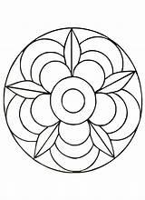 Mandala Simple Coloring Mandalas Pages Print sketch template