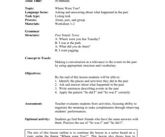 lesson plan the past simple tense