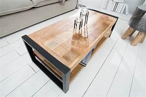 Couchtisch Schwarz Metall : massiver couchtisch iron craft 100cm mangoholz metall schwarz riess ~ Eleganceandgraceweddings.com Haus und Dekorationen
