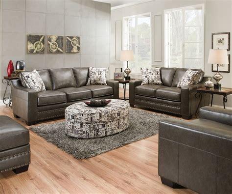 slate gray sofa love seat w nailhead trim transitional