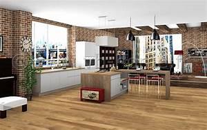 Cuisine Avec Parquet : cuisine avec lot dans grande pi ce ouverte style loft industriel fa ades stratifi es gris ~ Melissatoandfro.com Idées de Décoration