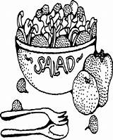 Salad Coloring Fruit Bowl Printable Pages Drawing Template Bowls Sheets Adult Sketch Getdrawings Salads Printables sketch template