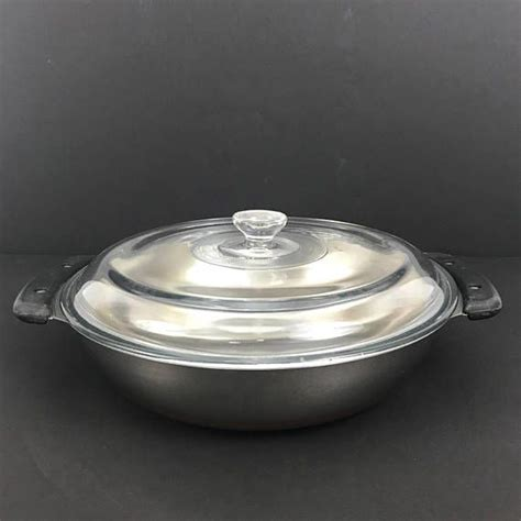 vintage revere ware tri clad copper bottom  micro fryer  glass lid   revere
