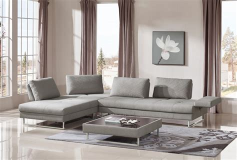 Divani Casa Baxter Modern Grey Fabric Sectional Sofa