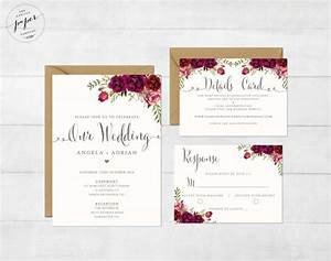 floral wedding invitation printable wedding invitation With wedding invitation suite sizes