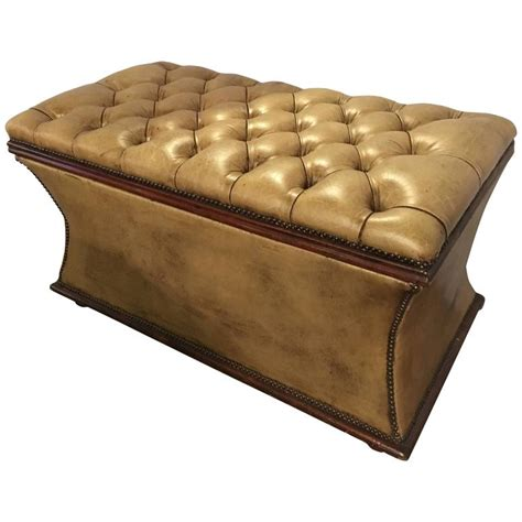 antique leather storage bench antique tufted leather storage chest or dowry for 4108