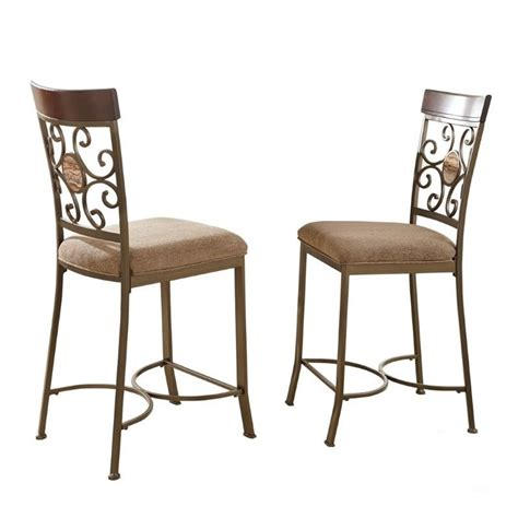 steve silver thompson counter height dining chair in metal