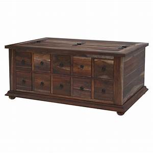 classic wood storage coffee table with 10 drawers With large wooden coffee table with drawers