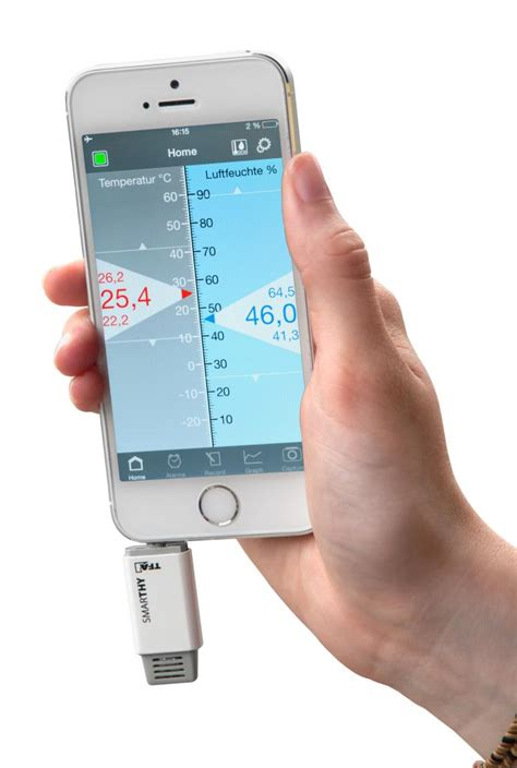 tfa dostmann smarthy thermo hygrometer fuer smartphones