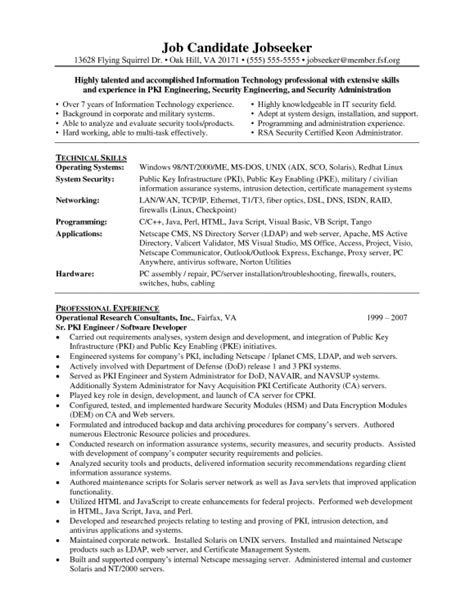 security resume exles and sles resume template exle