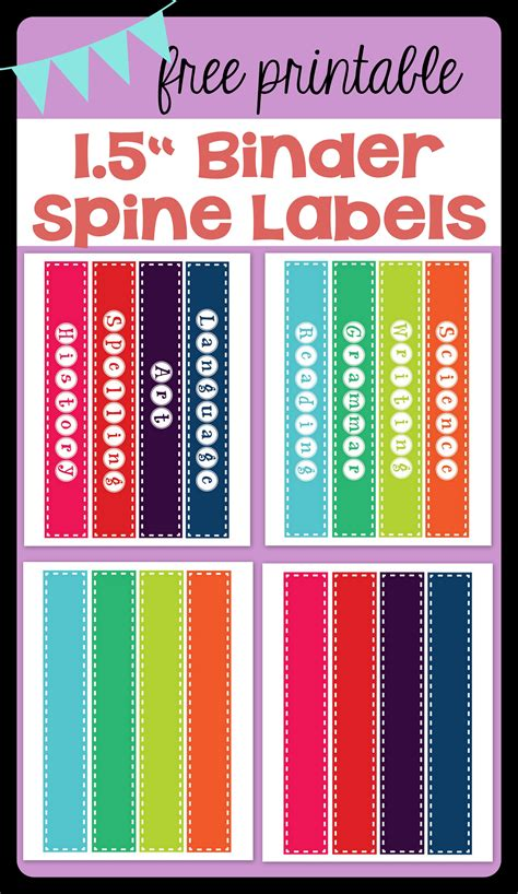 1 5 binder spine template free printable 1 5 quot binder spine labels for basic school subjects and blanks for you to