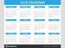 Egyszerű 2019 Évi Naptár Készlet Minden Hónap — Stock