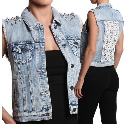denim vest themogan spiked shoulder lace back denim vest embellished