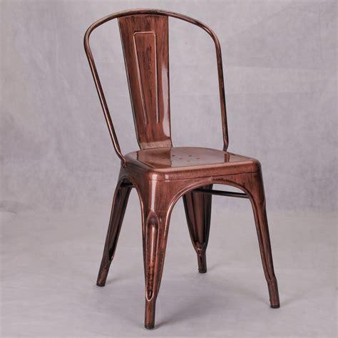 Vintage Tolix Style Metal Copper Bronze Industrial Cafe