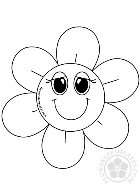 cartoon smiling flower coloring page flowers templates