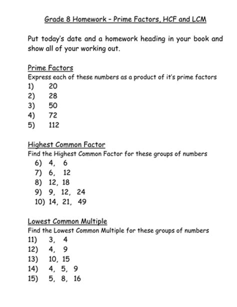 answers for lcm hcf prime factors exam questions by kswatson teaching resources tes