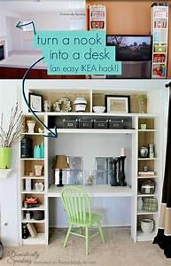 Remodelaholic IKEA Bookcase to Built-In Desk Nook Hack