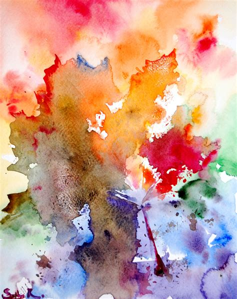 original watercolor painting abstract rainbow leaves