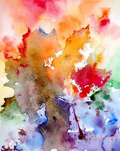 Original Watercolor Painting. Abstract Rainbow Leaves.