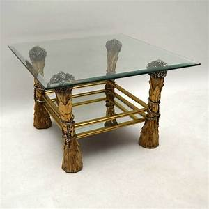 1960s vintage brass glass decorative coffee table With decorative glass coffee tables