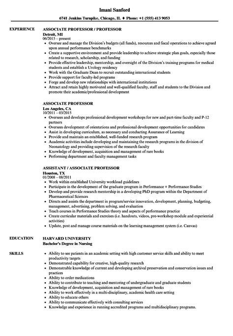 Professor Resume by Associate Professor Resume Sles Velvet